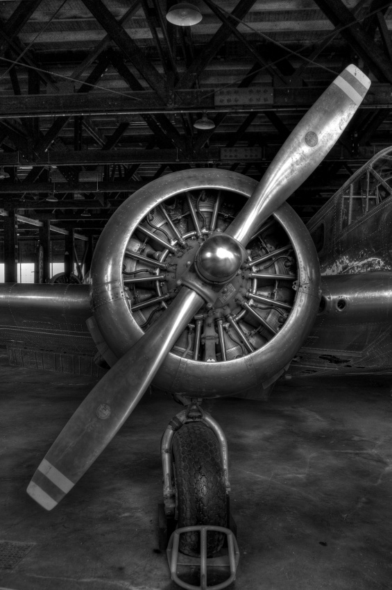 old propeller aircraft black and white