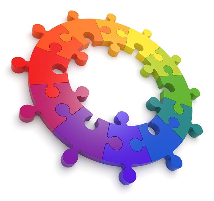 Puzzle Color Wheel 3D. See my portfolio for more color wheels.