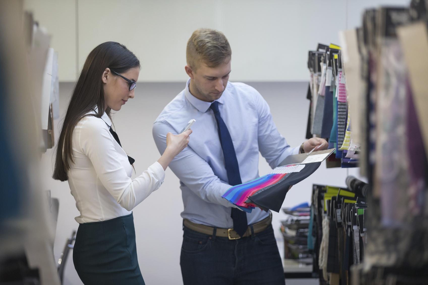 Designers photographing fabrics