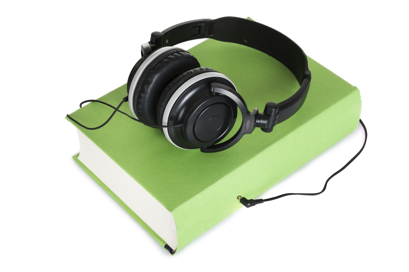 Headphone Over Green Audio Book On White Background