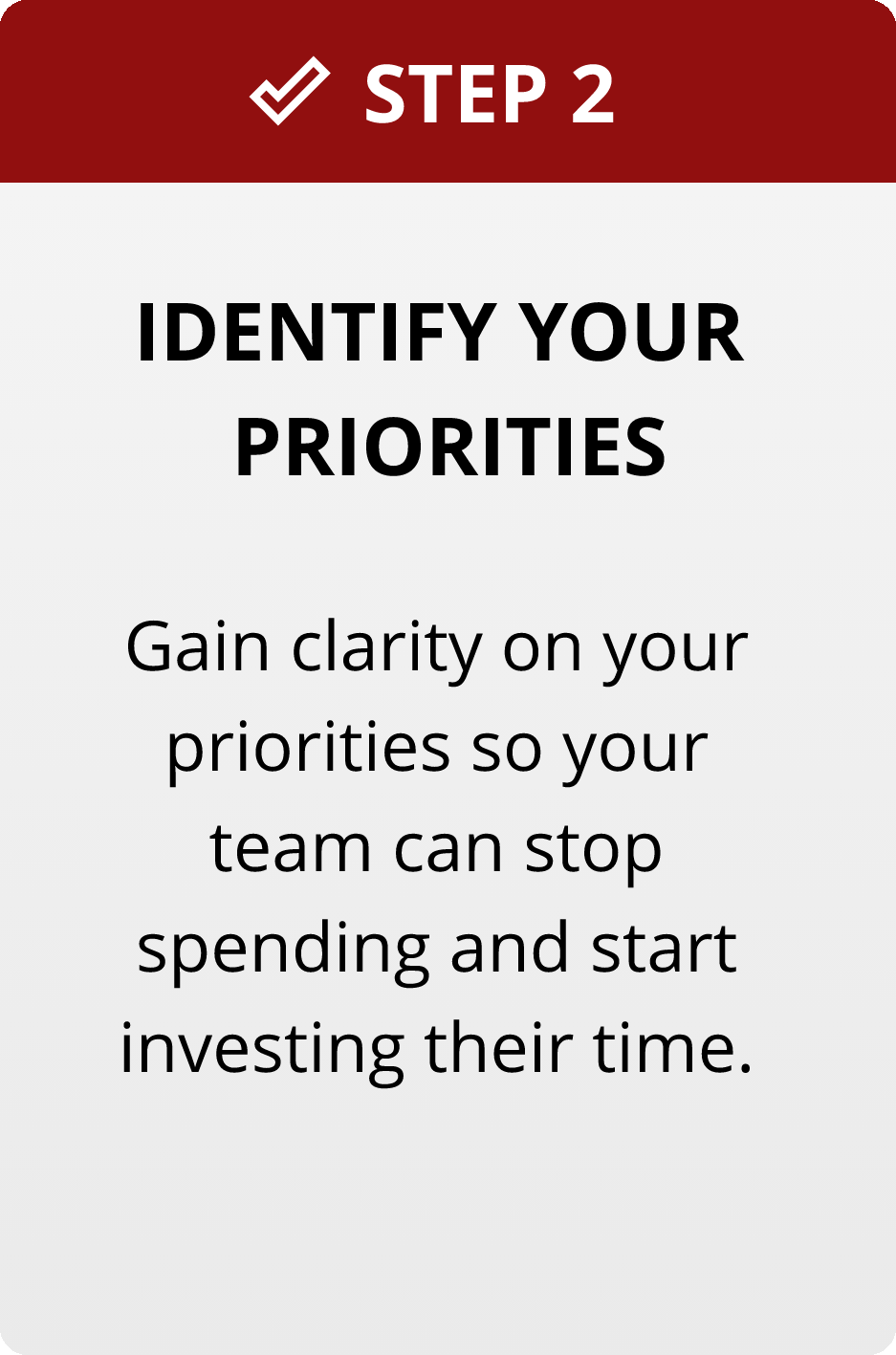 Step2: Identify your Priorities. Gain Clarity on your priorities so your team can stop spending and start investing their time